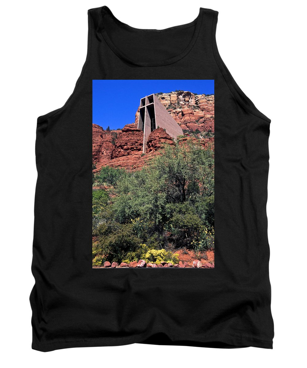 Chapel Of The Holy Cross Tank Top featuring the photograph Chapel In Red Rocks by Sally Weigand