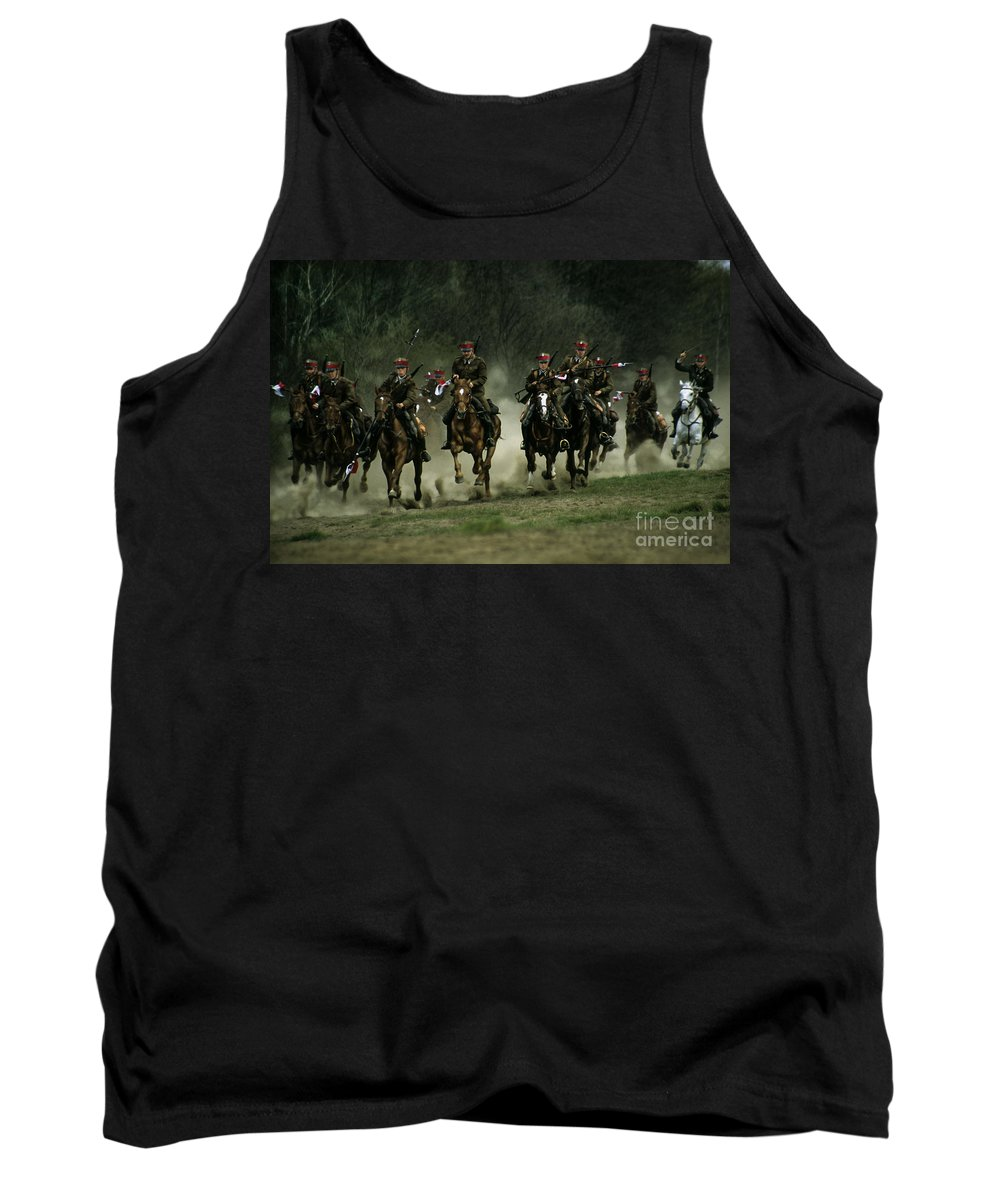 Cavalery Tank Top featuring the photograph Charge by Angel Ciesniarska