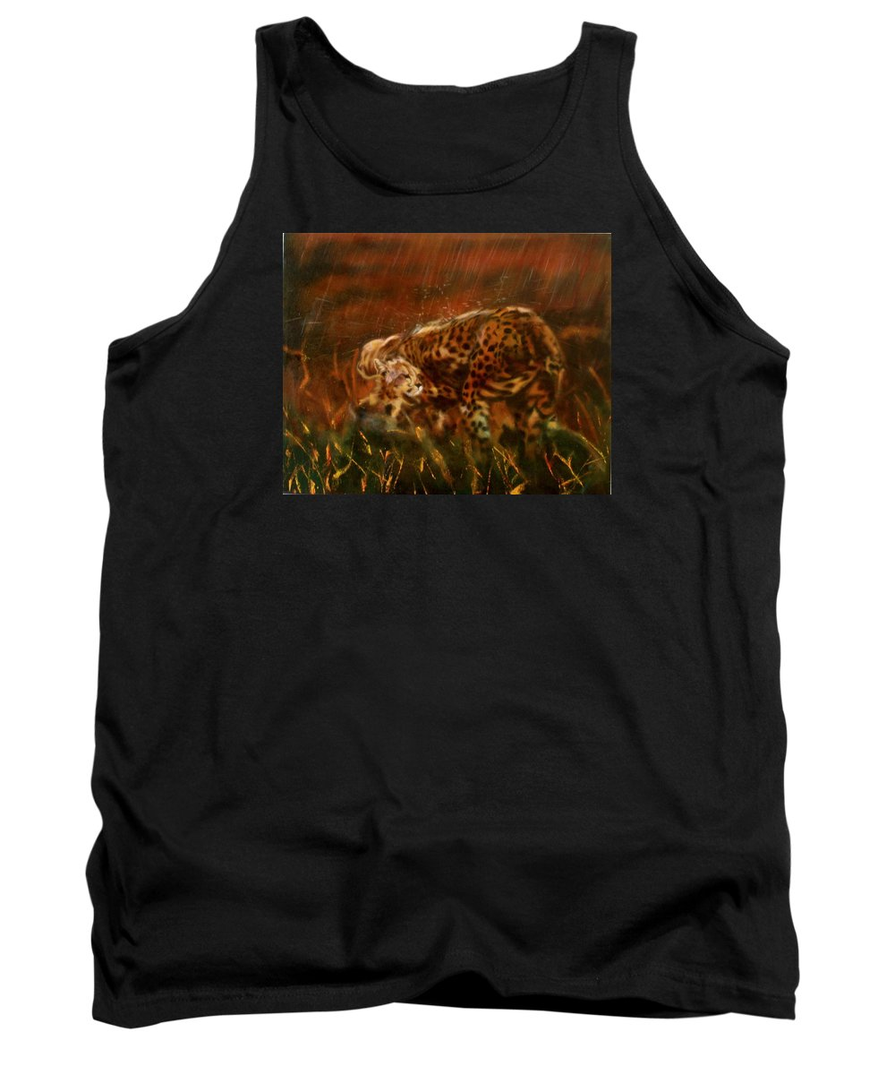 Rain;water;cats;africa;wildlife;animals;mother;shelter;brush;bush Tank Top featuring the painting Cheetah Family After The Rains by Sean Connolly