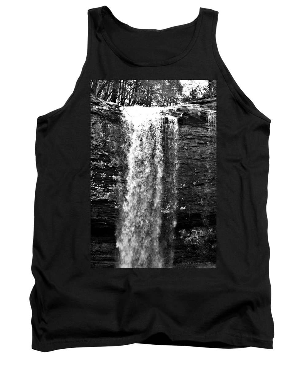 Cherokee Falls Tank Top featuring the photograph Cherokee Falls In Monochrome by Tara Potts