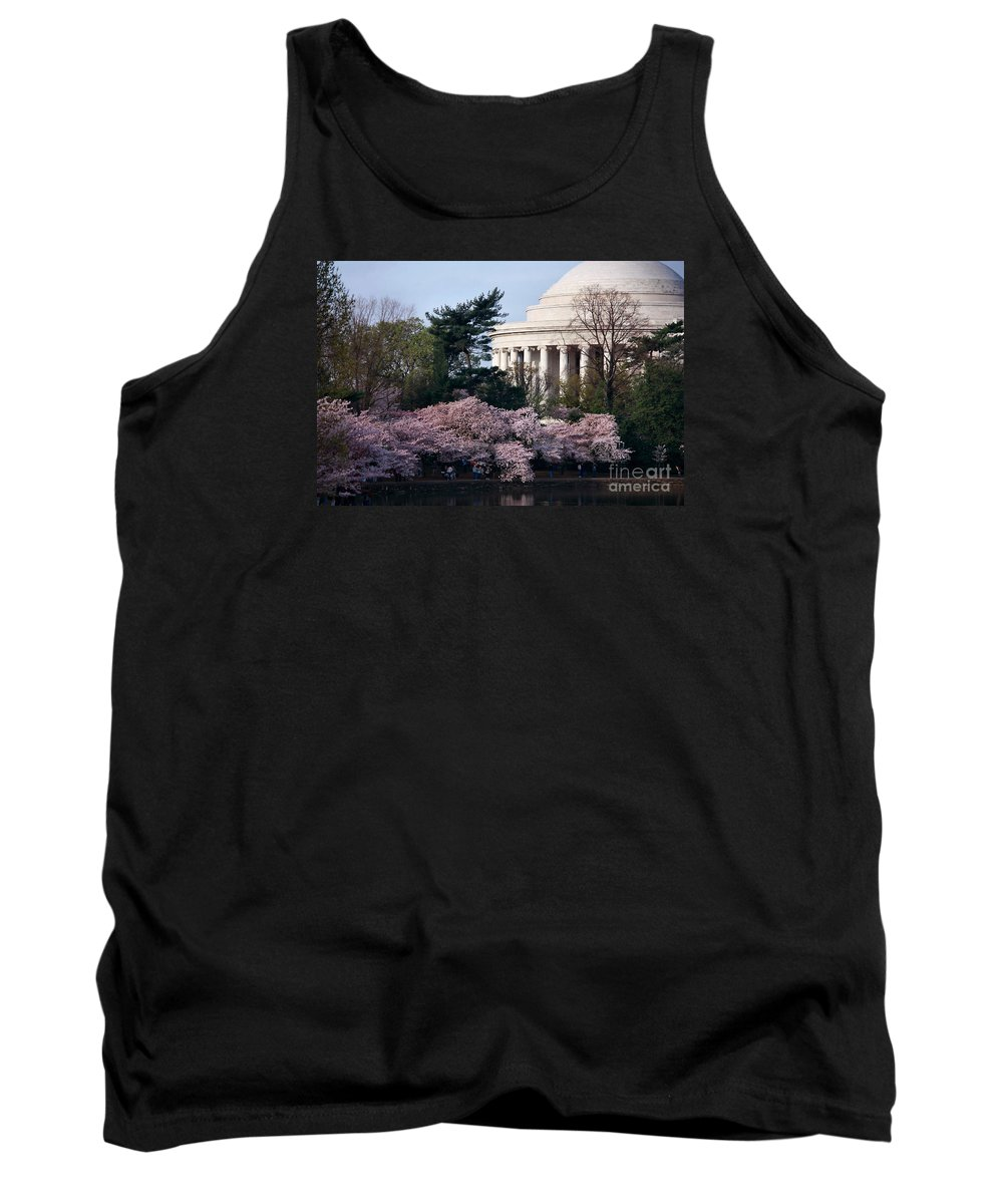 Cherry Blossoms Tank Top featuring the photograph Cherry Blossoms Jefferson Memorial by Luv Photography