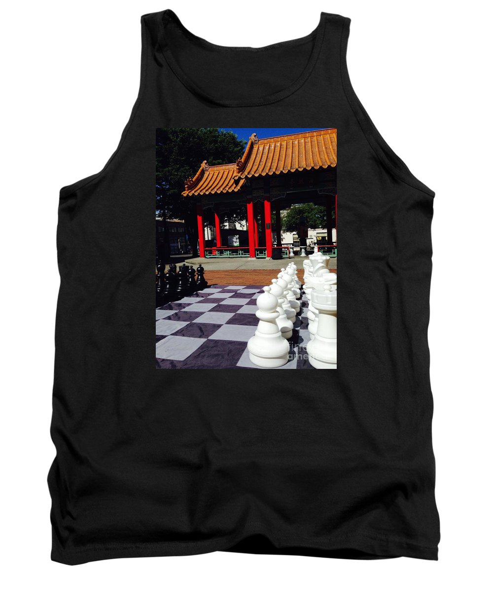 Chess Tank Top featuring the photograph Chess In China Town by LeLa Becker