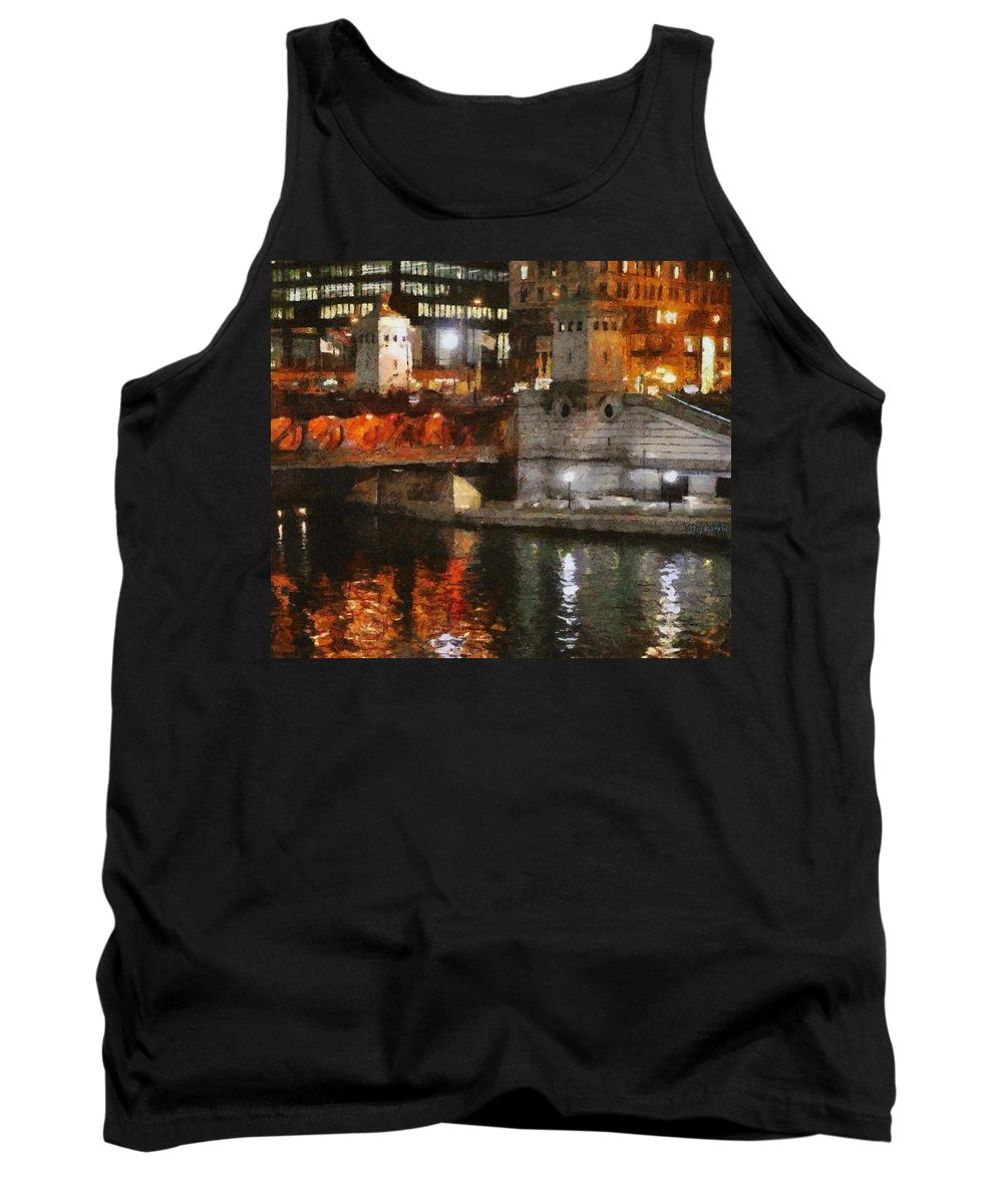 Bridge Tank Top featuring the painting Chicago River At Michigan Avenue by Jeffrey Kolker