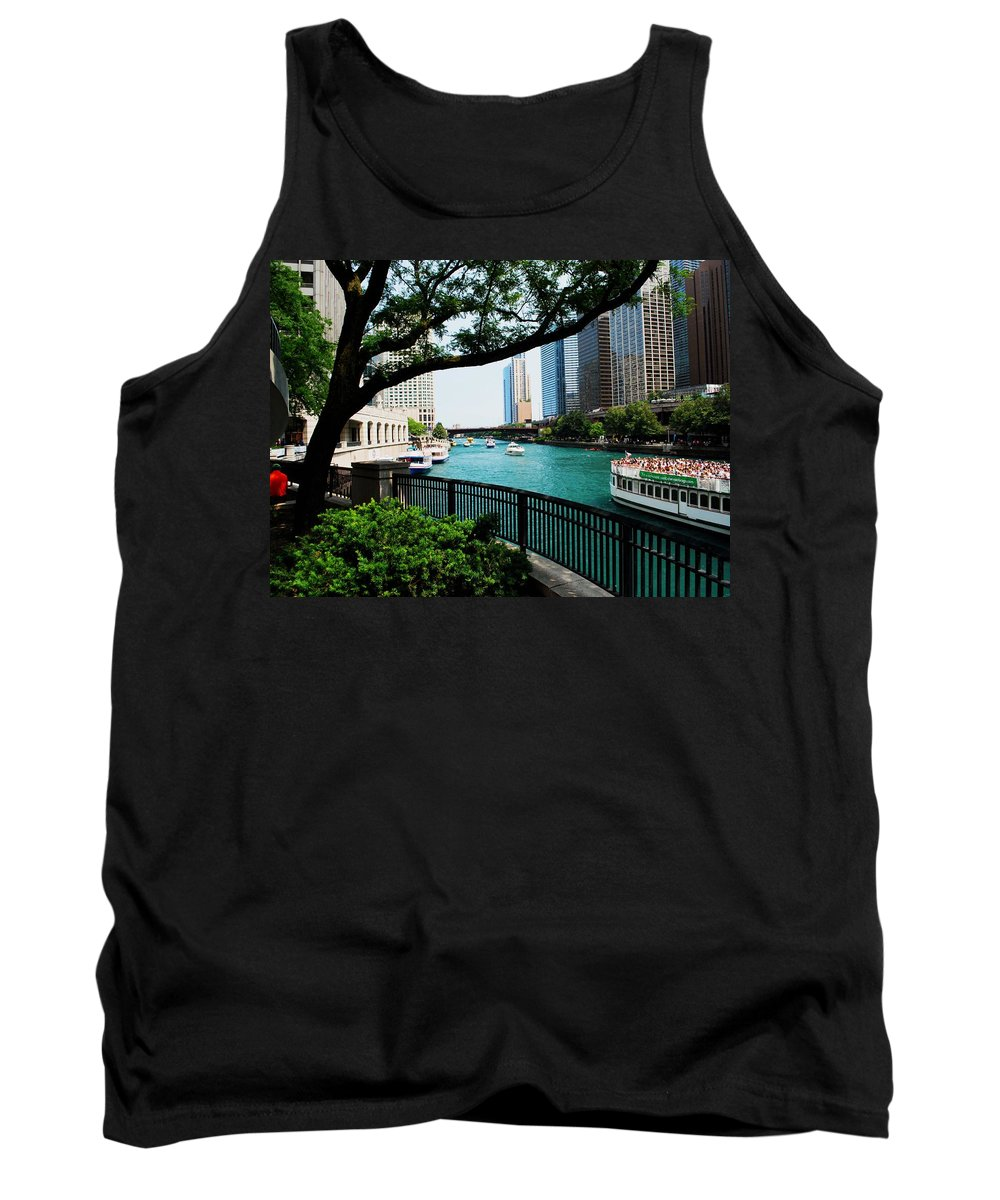 Illinois Tank Top featuring the photograph Chicago River Scene by Gary Wonning