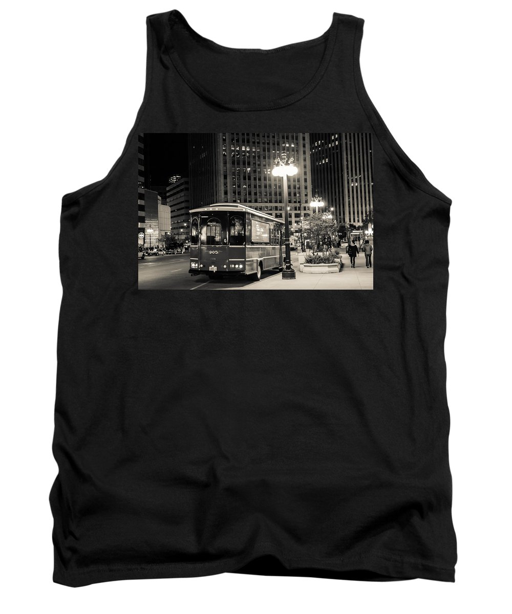 Transportation Tank Top featuring the photograph Chicago Trolly Stop by Melinda Ledsome
