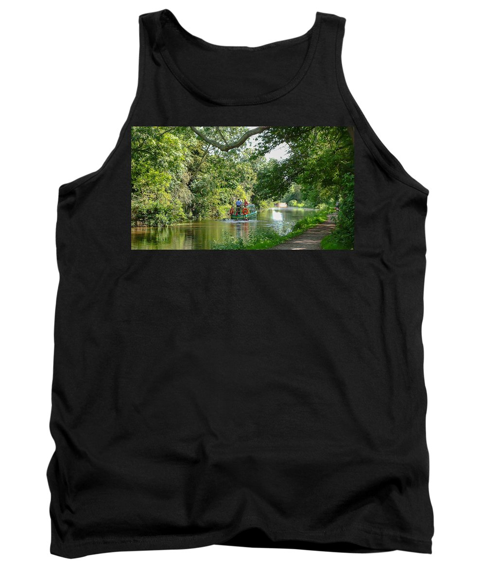 Canal Towpath Trees Canal Boat Summer Reflections Tank Top featuring the photograph Chichester Canal by John Richardson