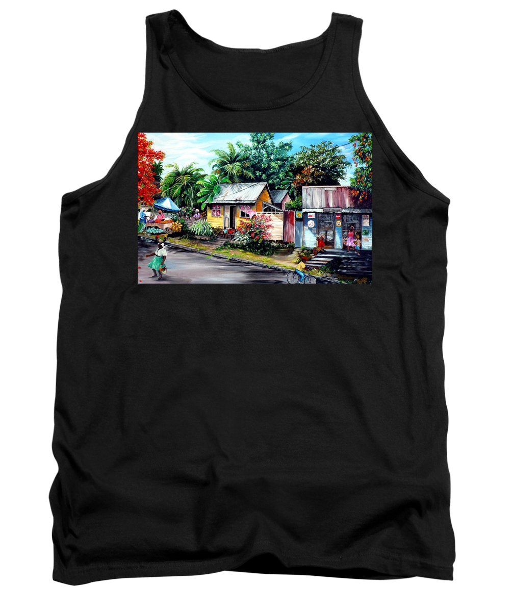 Landscape Painting Caribbean Painting Shop Trinidad Tobago Poinciana Painting Market Caribbean Market Painting Tropical Painting Tank Top featuring the painting Chins Parlour   by Karin Dawn Kelshall- Best