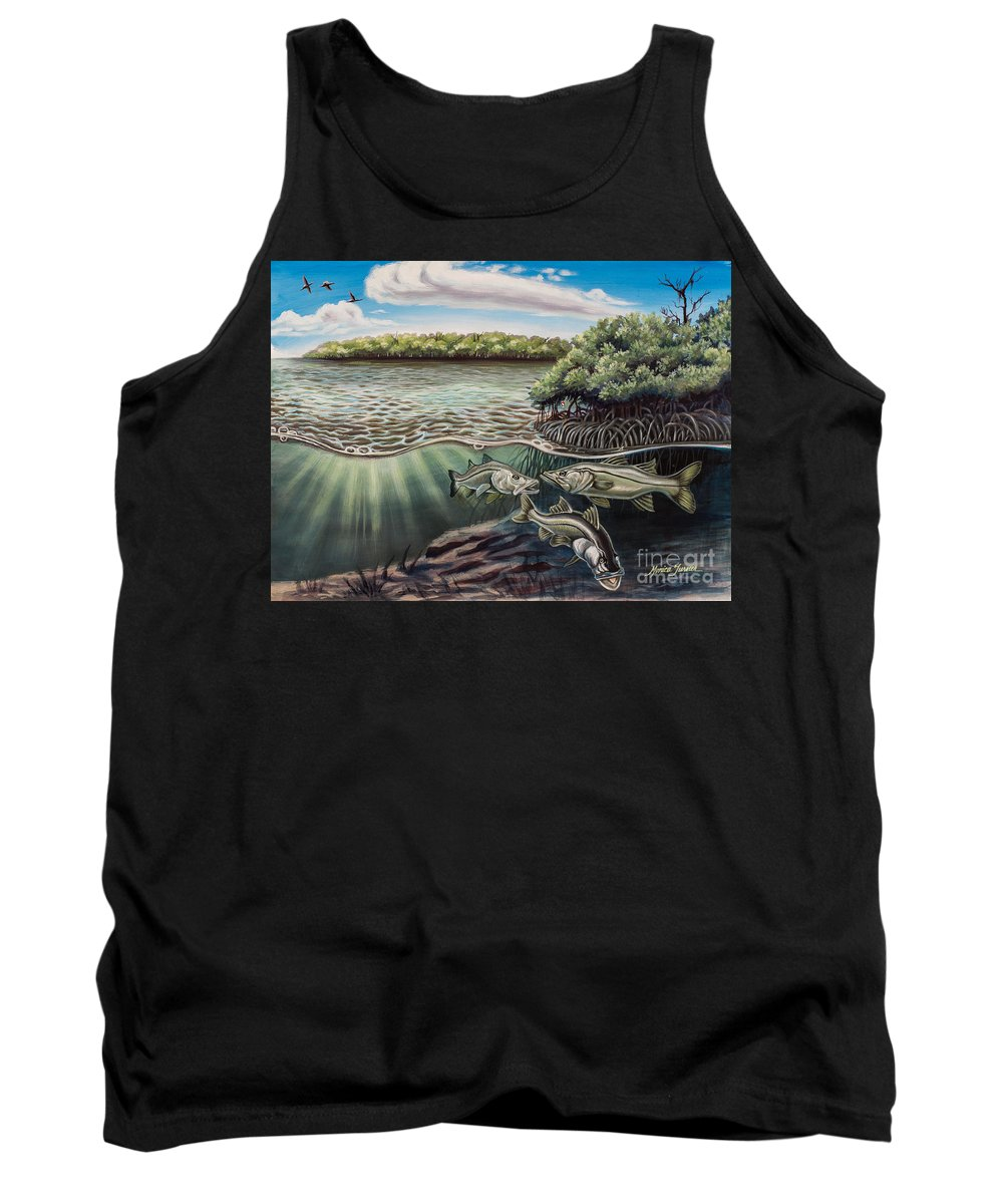 Salt Water Tank Top featuring the painting Chokoloskee Snook by Monica Turner
