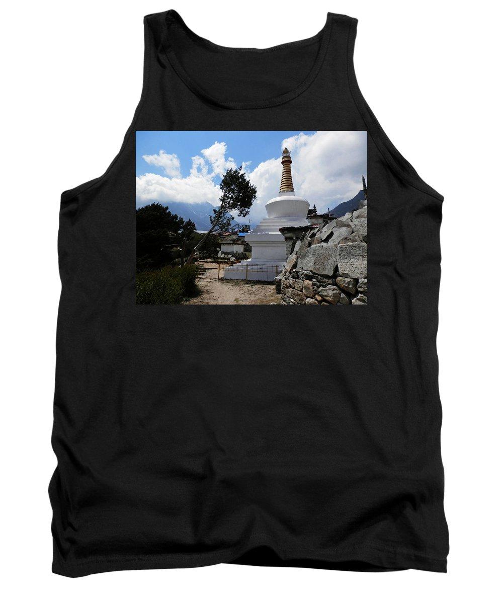 Chorten Tank Top featuring the photograph Chorten And Tree by Pema Hou