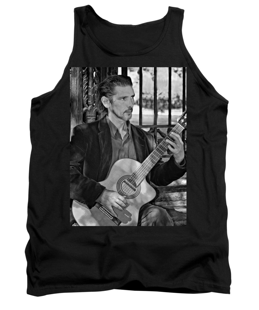 Jackson Square Tank Top featuring the photograph Chris Craig - New Orleans Musician Bw by Steve Harrington