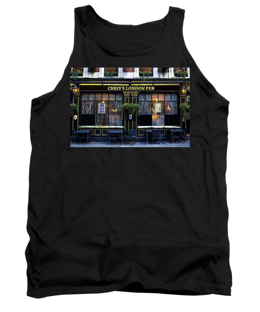 Chris Tank Top featuring the photograph Chris's London Pub by David Pyatt