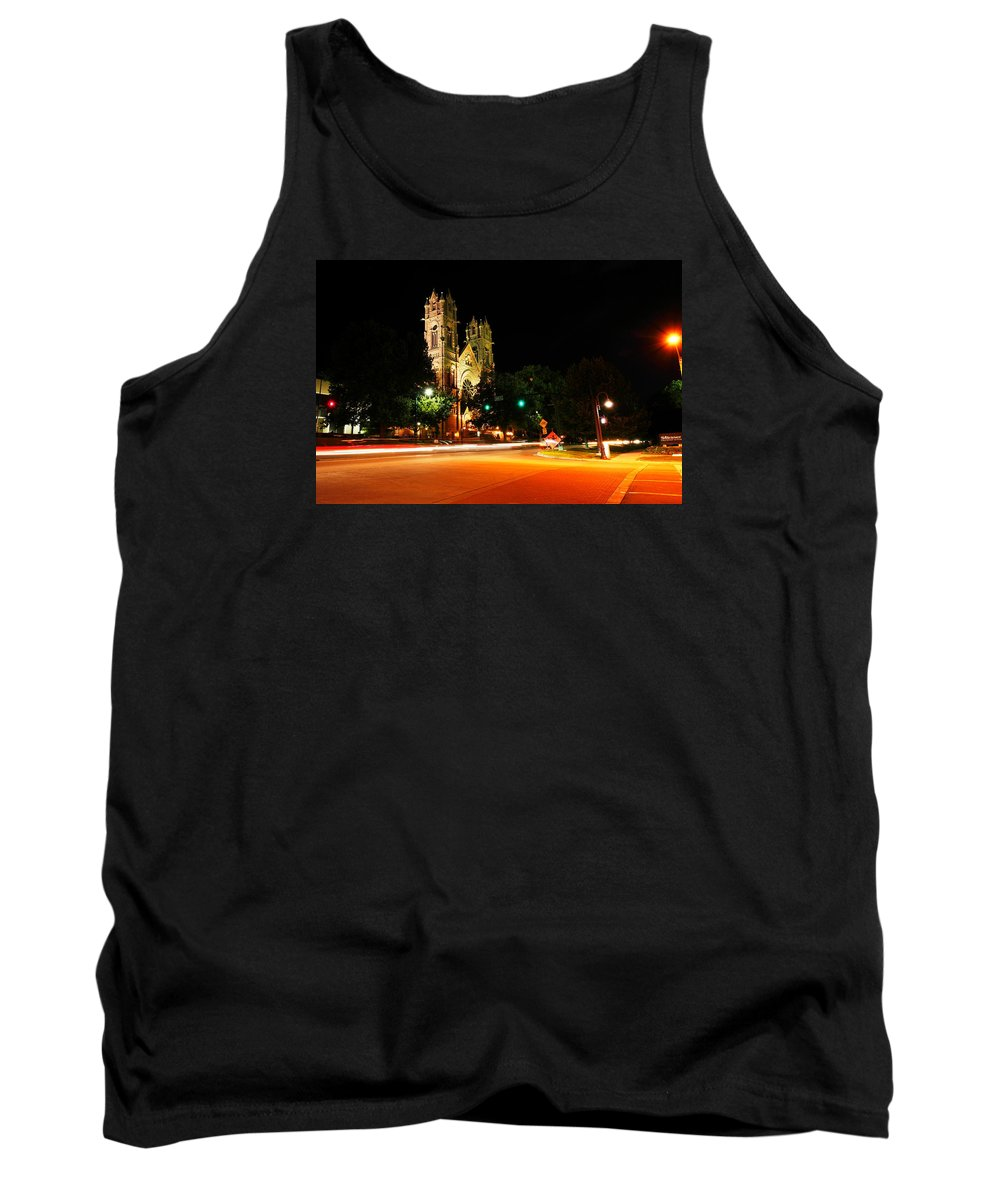 Churches Tank Top featuring the photograph Church In Downtown Salt Lake City Long Exposure  by Jeff Swan