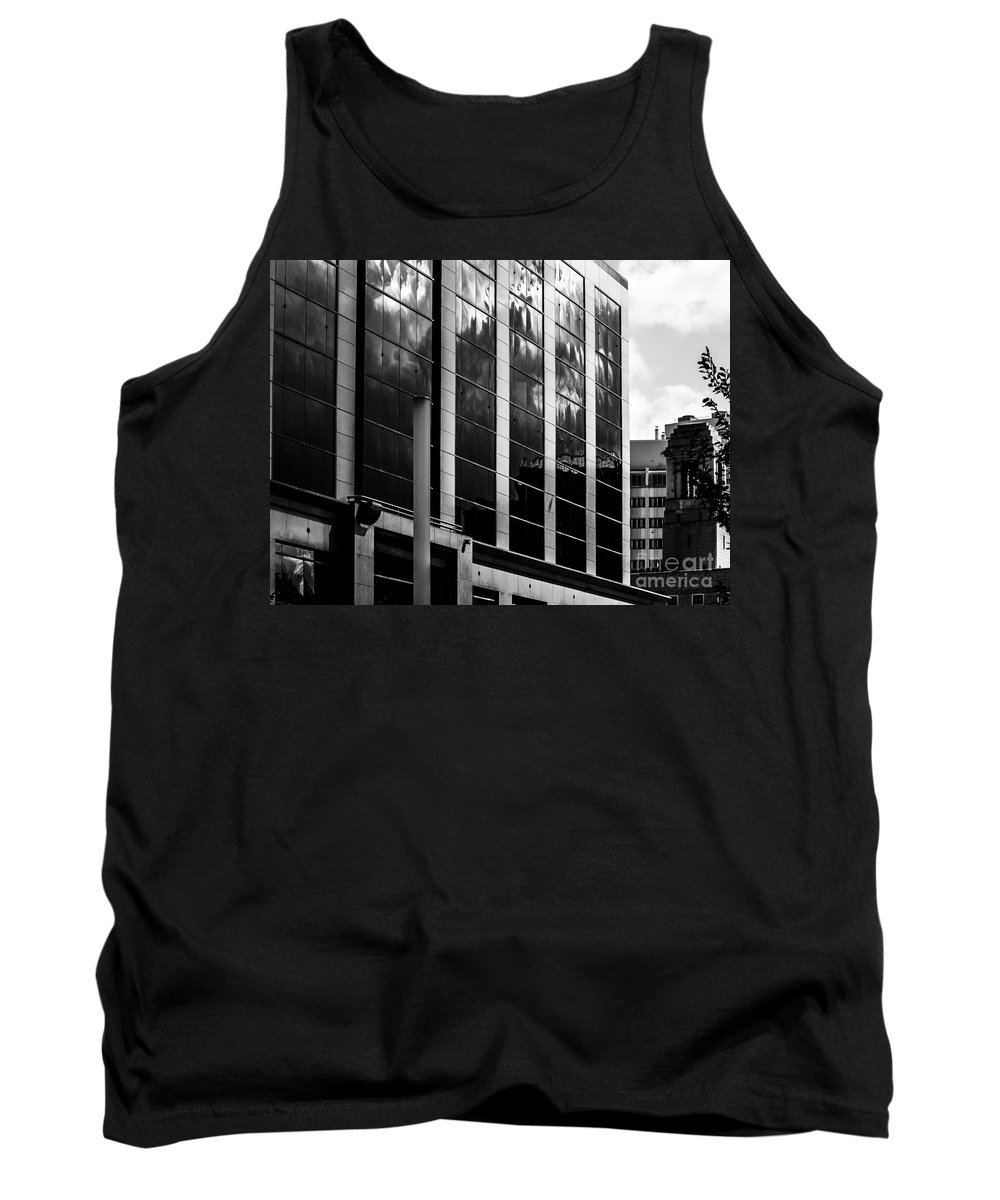 Black And White Tank Top featuring the photograph City Center-13 by David Fabian