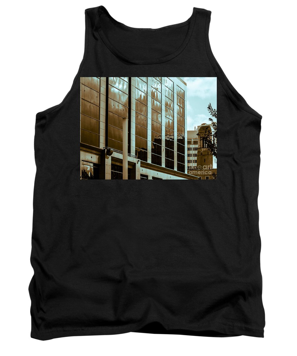 Urban Reflection Tank Top featuring the photograph City Center-15 by David Fabian