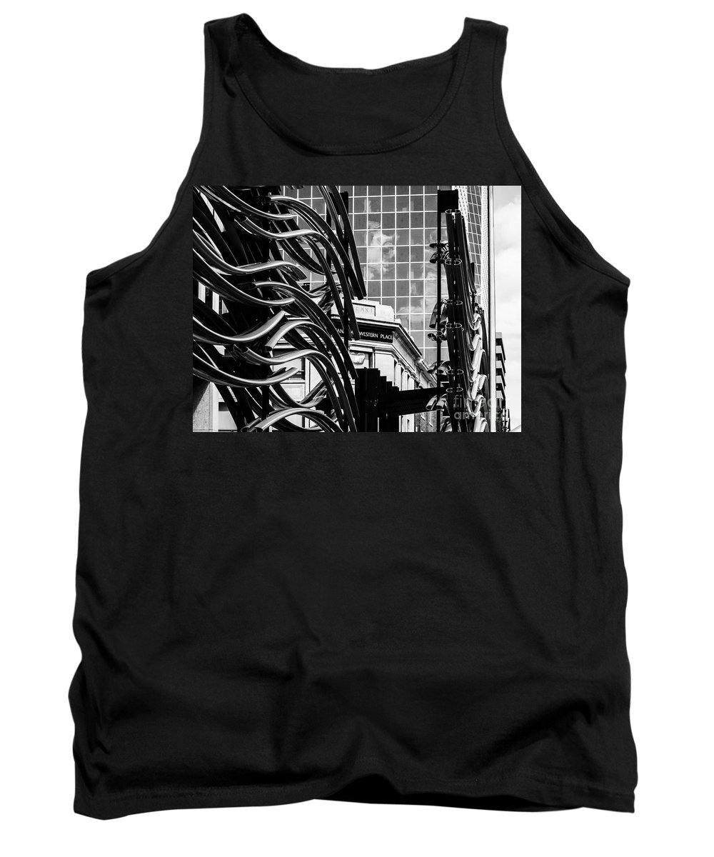 Urban Black And White Tank Top featuring the photograph City Center-34 by David Fabian