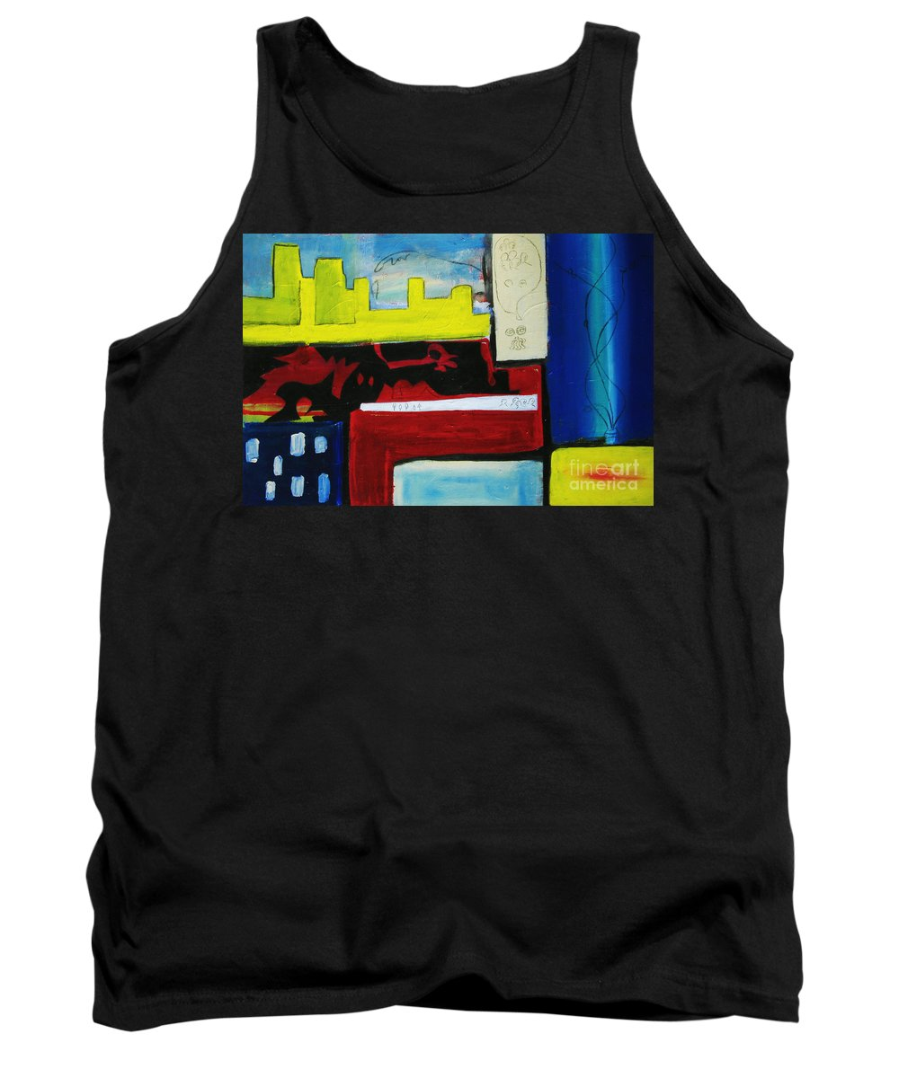 Painting Tank Top featuring the painting City Life by Jeff Barrett
