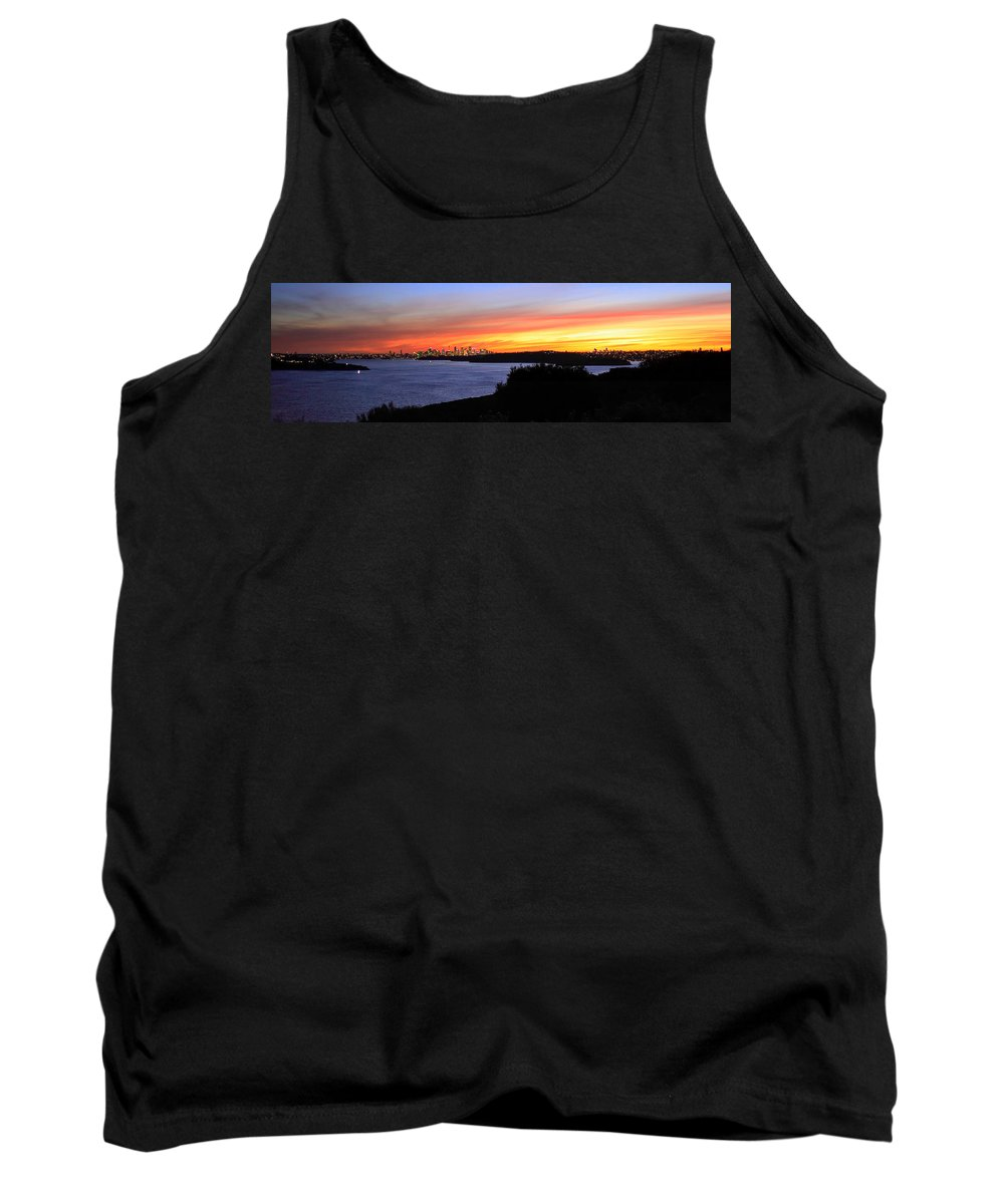 Sunset Tank Top featuring the photograph City Lights In The Sunset by Miroslava Jurcik