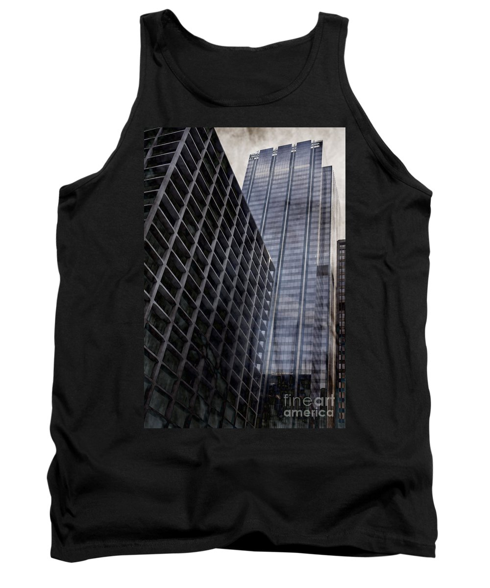 America; Block; Chicago; Illinois; Usa; United States; Buildings; City; Cityscape; Downtown; Foreboding; Concrete; Windows; Glass; Office; High Rise; Skyscraper; Tower; Building; Concrete Jungle; Glass; Looking Up; Skyline; Architecture; Architectural; Outside; Outdoors; Tall; Urban Tank Top featuring the photograph City by Margie Hurwich