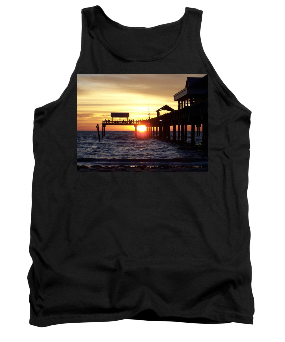 Clearwater Tank Top featuring the photograph Clearwater Beach Pier by David T Wilkinson