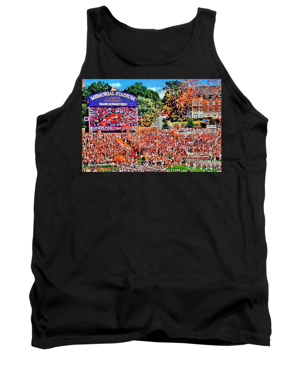 Acc Tank Top featuring the photograph Clemson Tigers Memorial Stadium II by Jeff McJunkin