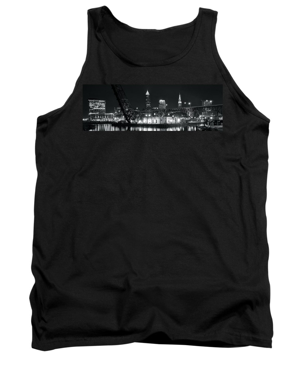 Cleveland Tank Top featuring the photograph Cleveland Black Night by Frozen in Time Fine Art Photography
