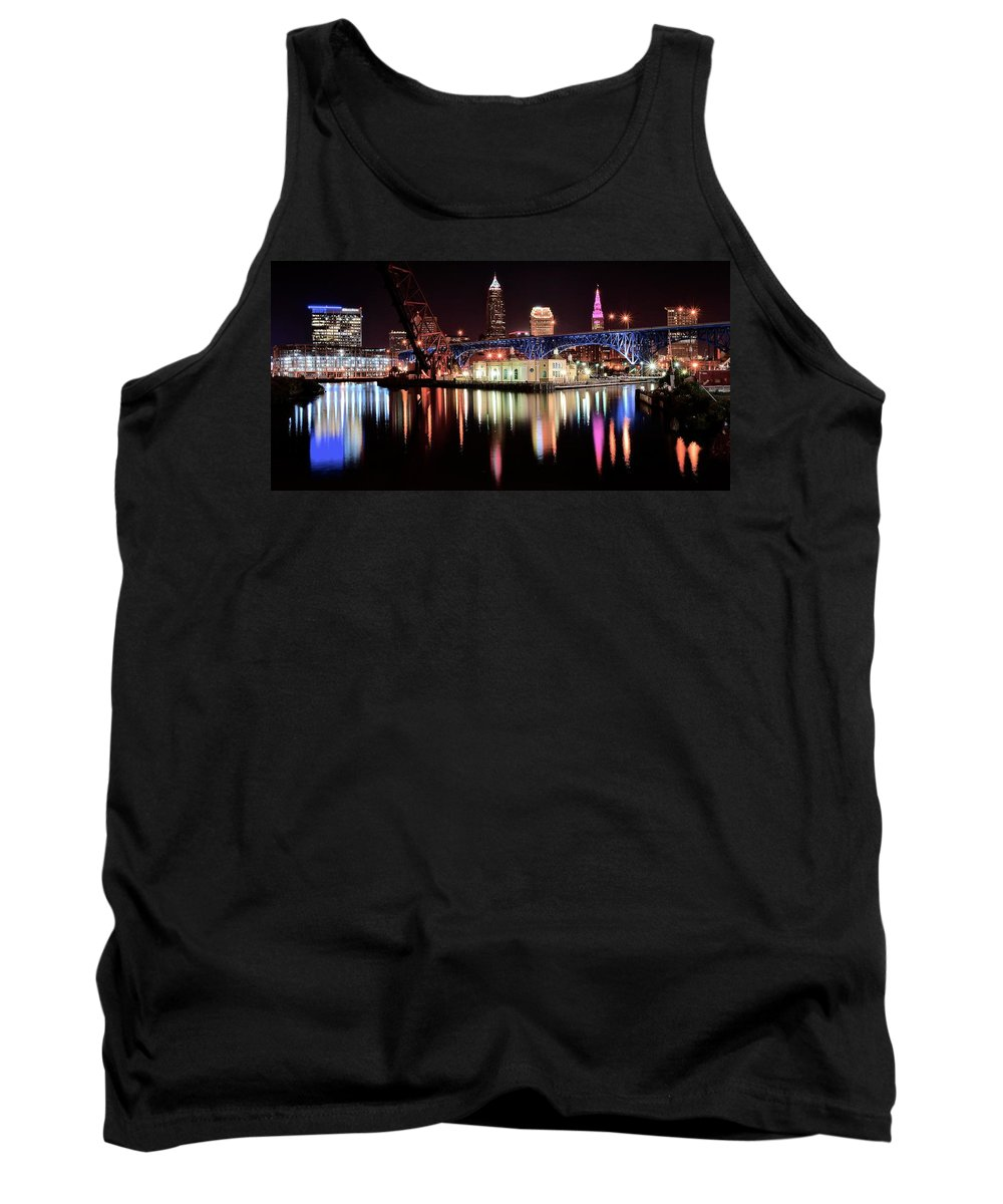 Cleveland Tank Top featuring the photograph Cleveland Panoramic Reflection by Frozen in Time Fine Art Photography