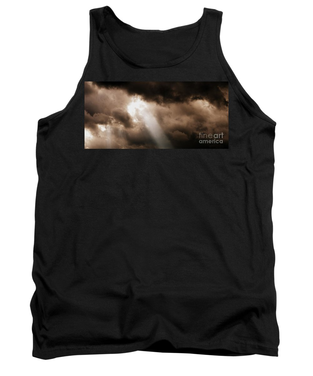 Sunlight Through Clouds Tank Top featuring the photograph Cloud Break by Kitrina Arbuckle