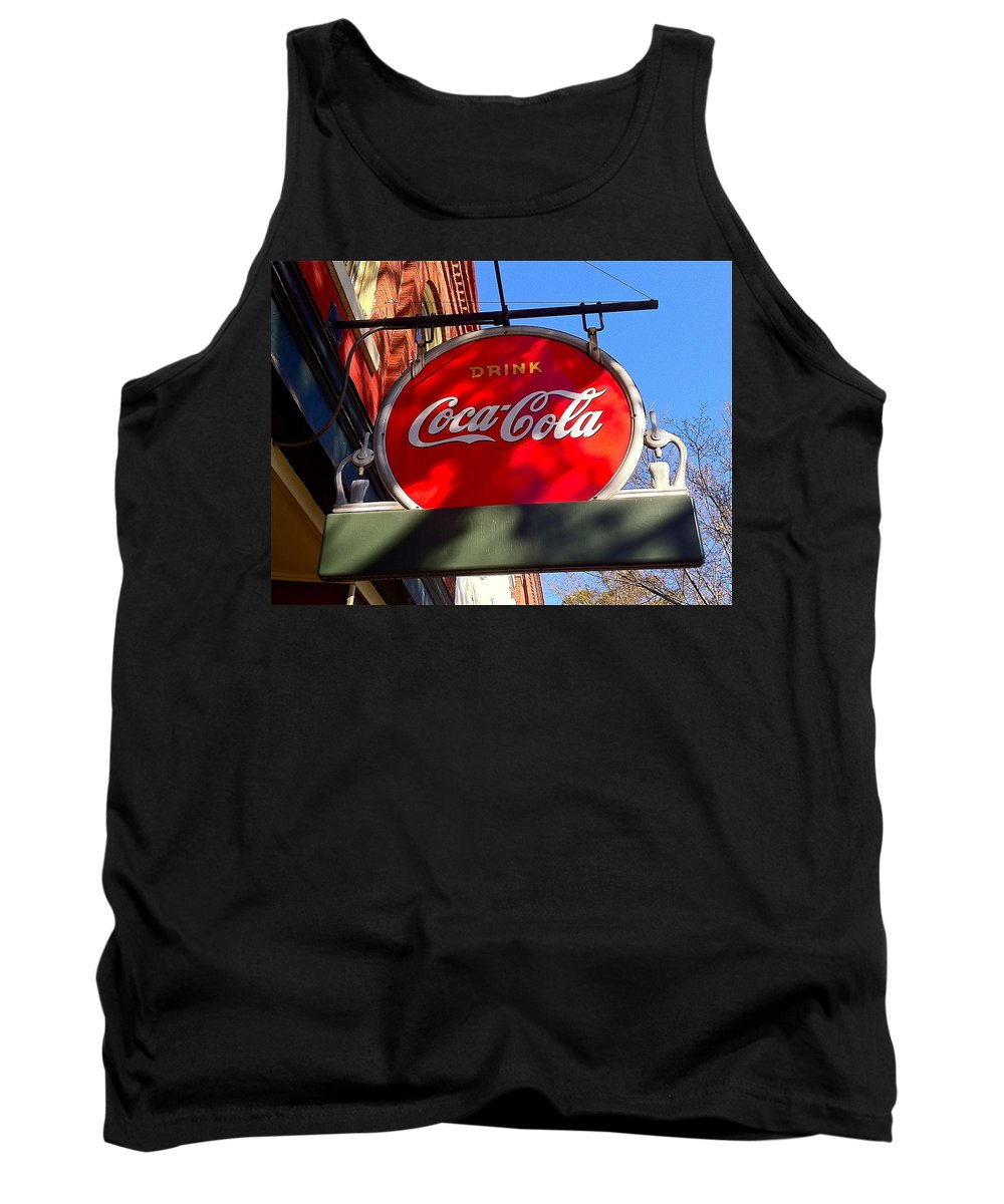 Coca Cola Tank Top featuring the photograph Coca Cola Sign In Georgia by Denise Mazzocco