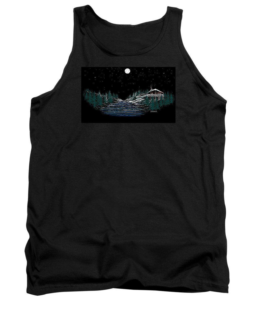 Cold Mountain Winter Tank Top featuring the digital art Cold Mountain Winter by Larry Lehman