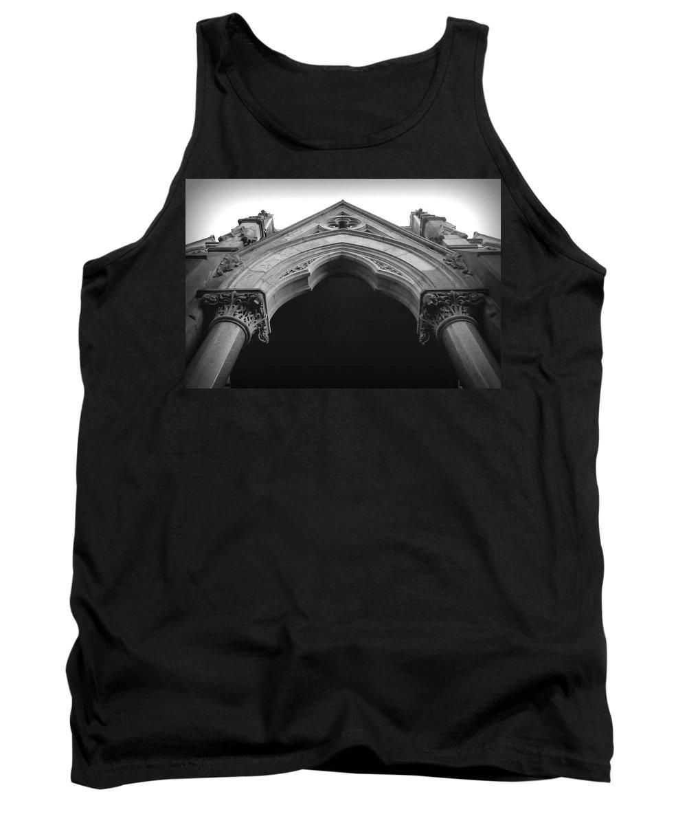 Joseph Skompski Tank Top featuring the photograph College Hall Entry - Black And White by Joseph Skompski