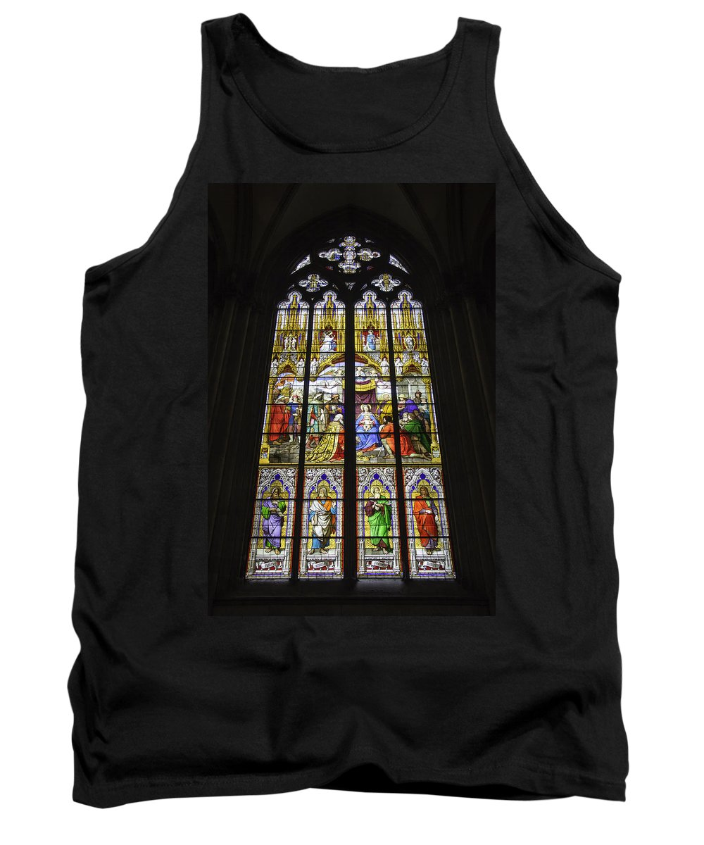 Cologne Cathedral Tank Top featuring the photograph Cologne Cathedral Stained Glass Window Of The Adoration Of The Magi by Teresa Mucha