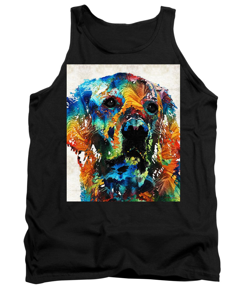 Dog Tank Top featuring the painting Colorful Dog Art - Heart And Soul - By Sharon Cummings by Sharon Cummings