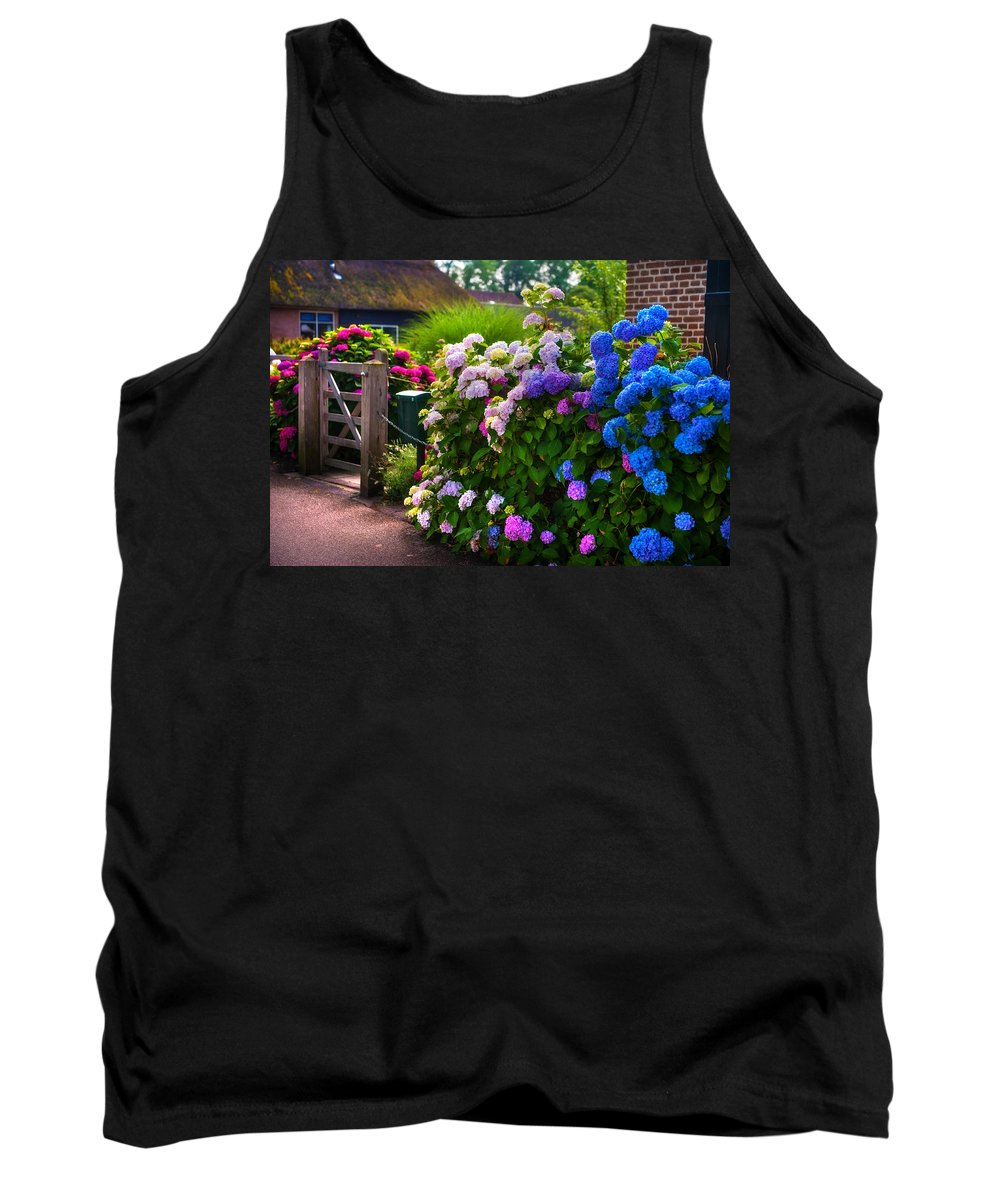 Netherlands Tank Top featuring the photograph Colorful Hydrangea At The Gate. Giethoorn. Netherlands by Jenny Rainbow