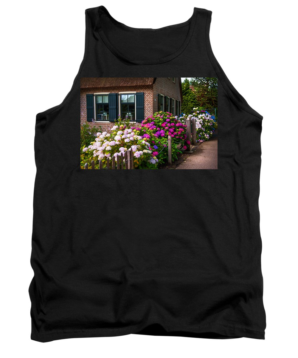 Netherlands Tank Top featuring the photograph Colorful Hydrangeas. Giethoorn. Netherlands by Jenny Rainbow