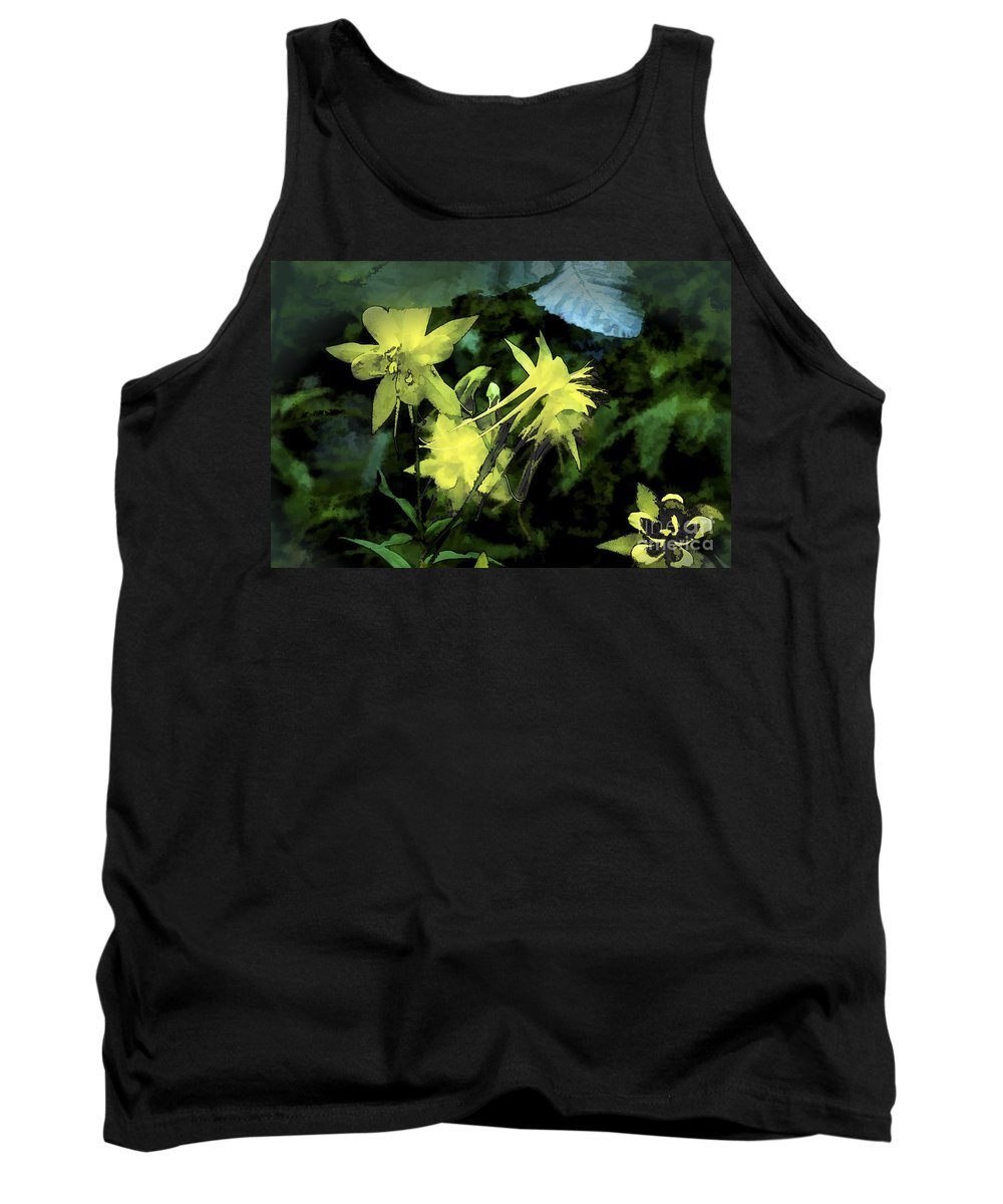 Columbines Tank Top featuring the digital art Columbines Painterly by Georgianne Giese