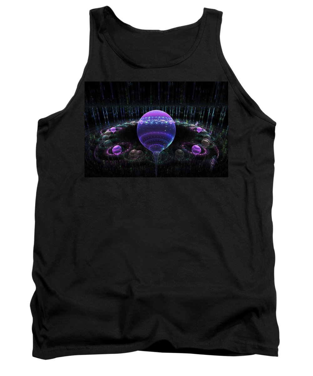 Blue Tank Top featuring the digital art Computer Generated Blue Purple Abstract Fractal Flame Black Background by Keith Webber Jr