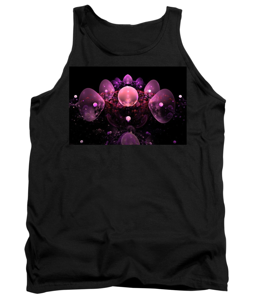 Pink Tank Top featuring the photograph Computer Generated Pink Abstract Bubbles Fractal Flame Art by Keith Webber Jr
