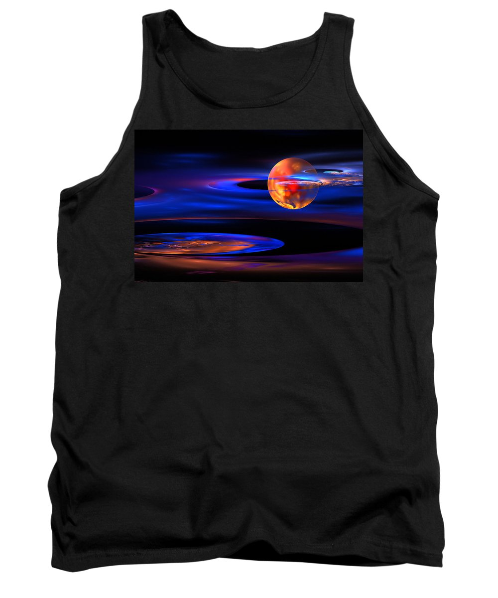 Blue Tank Top featuring the photograph Computer Generated Sphere Abstract Fractal Flame Art by Keith Webber Jr