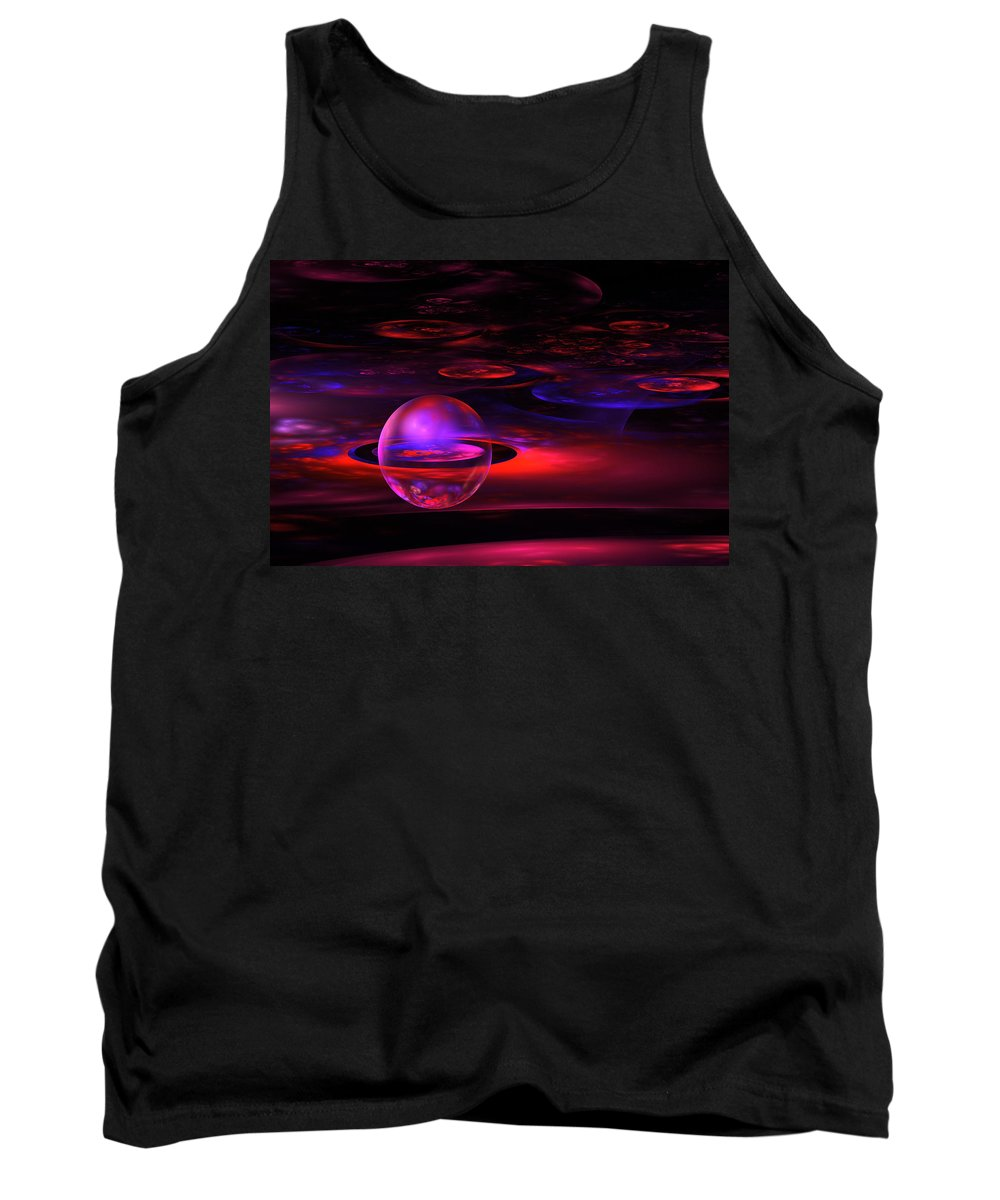 Red Tank Top featuring the photograph Computer Generated Sphere Red Abstract Fractal Flame Art by Keith Webber Jr