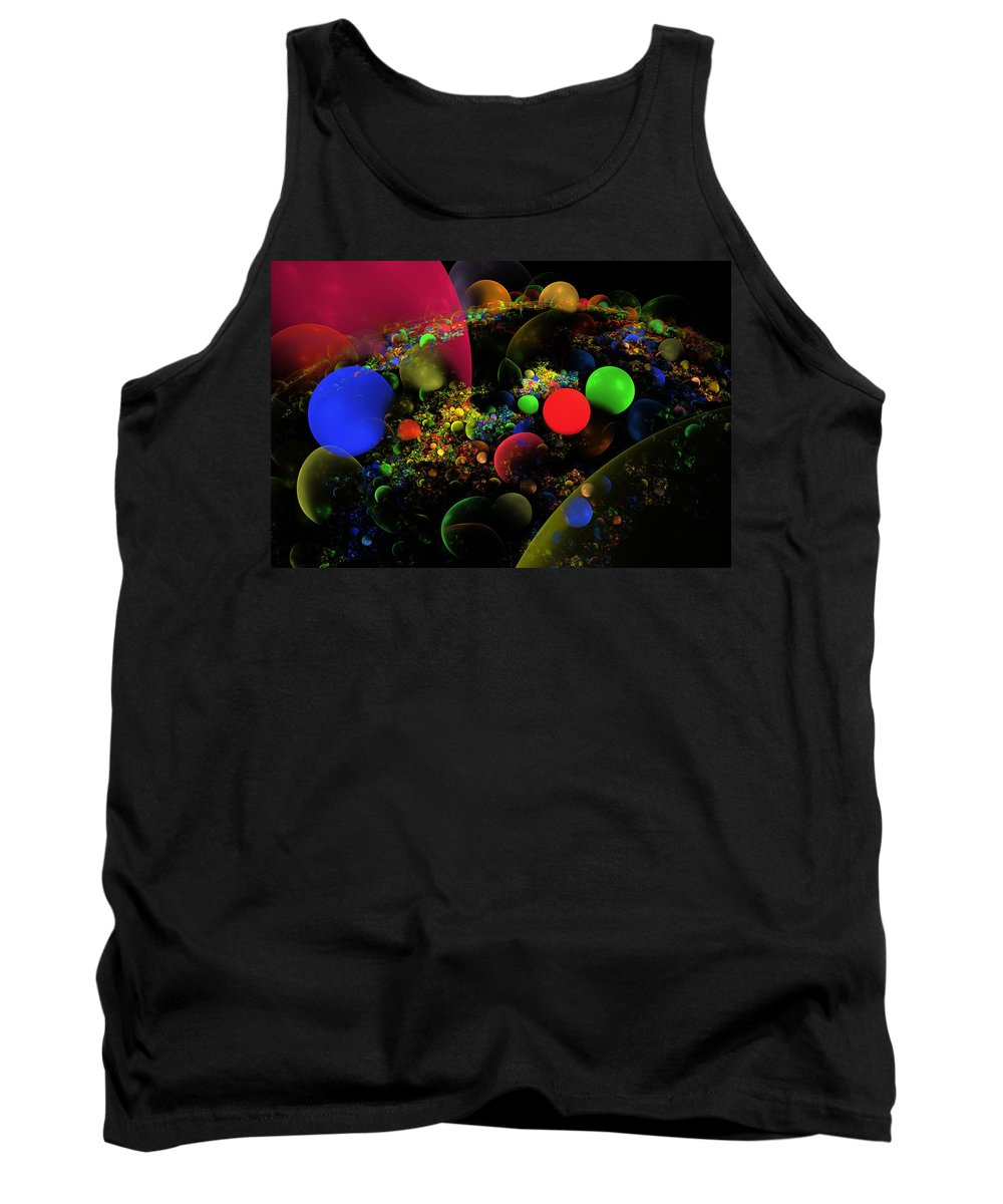 Red Tank Top featuring the photograph Computer Generated Spheres Abstract Fractal Flame Art by Keith Webber Jr
