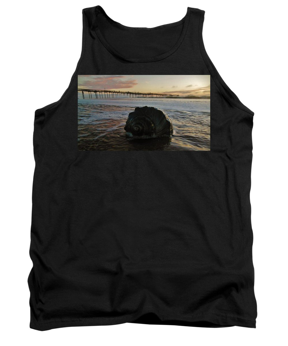 Mark Lemmon Cape Hatteras Nc The Outer Banks Photographer Subjects From Sunrise Tank Top featuring the photograph Conch Shell And Pier 2 10/17 by Mark Lemmon