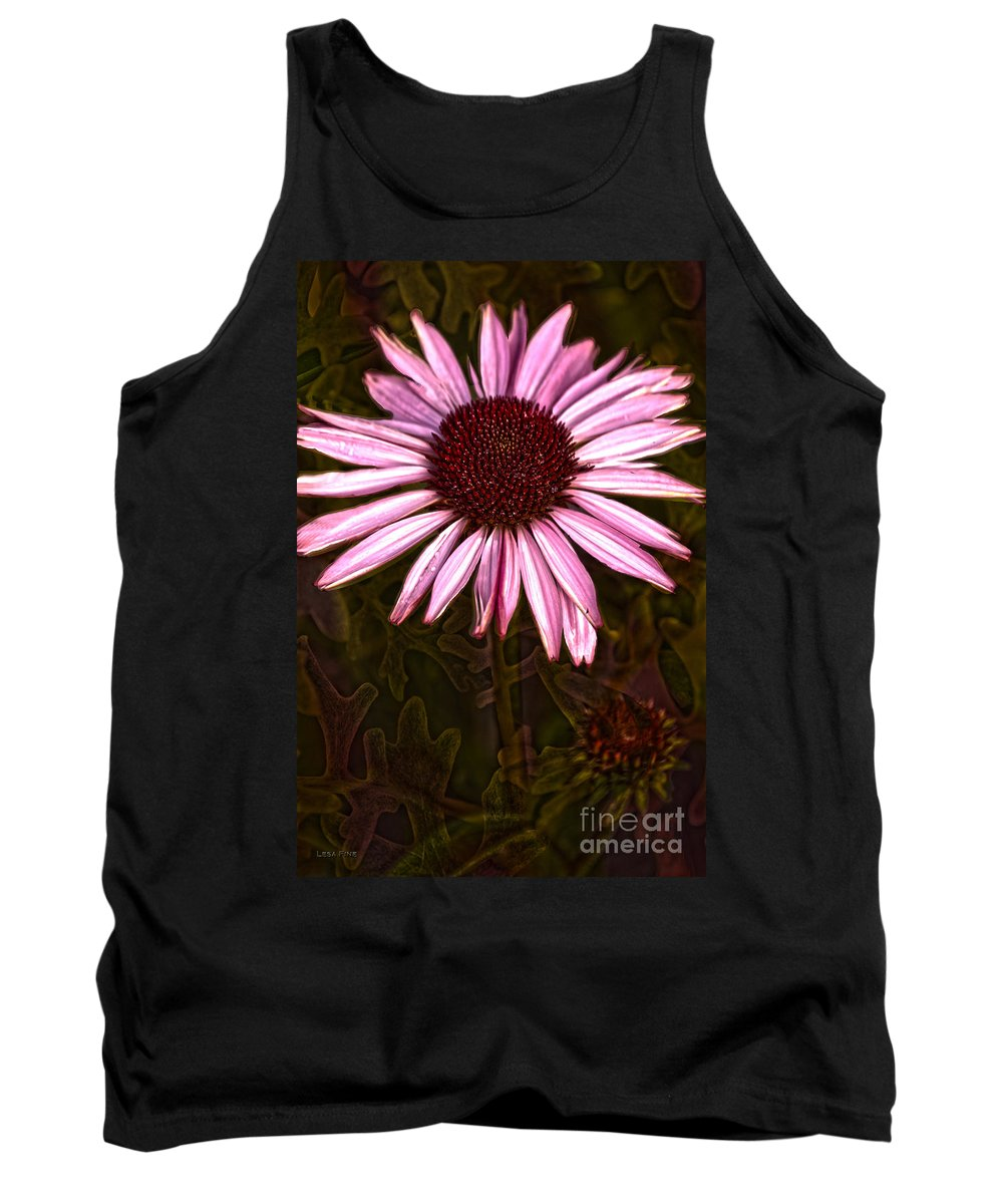 Purple Tank Top featuring the photograph Coneflower And Dusty Miller Hdr by Lesa Fine