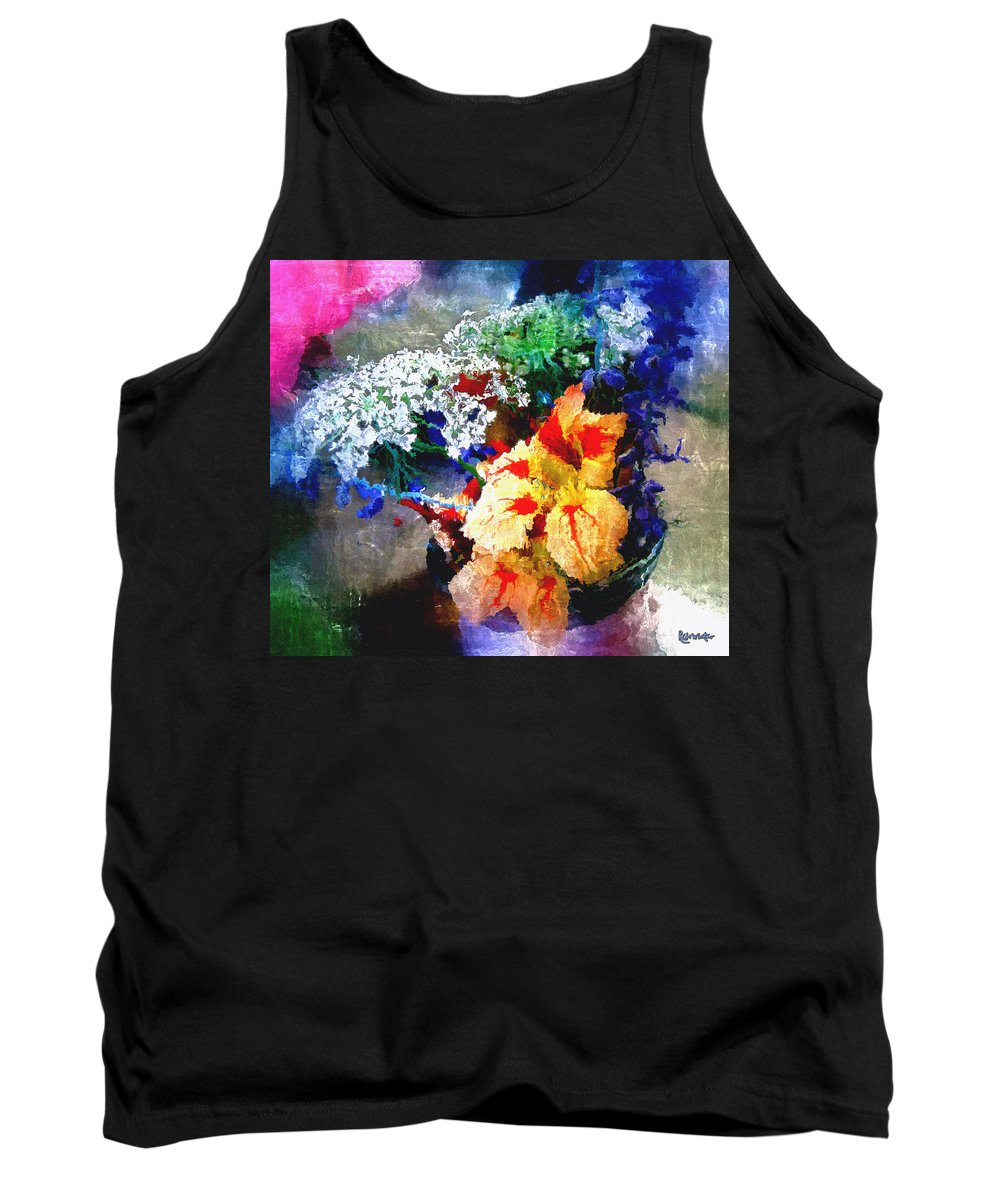 Delphinium Tank Top featuring the digital art Conjuring Claude Monet by RC DeWinter