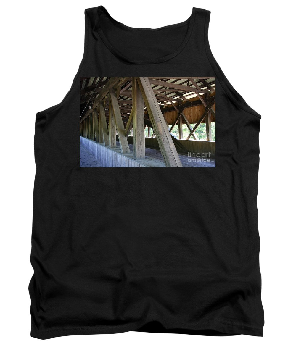 Jackson Covered Bridge Tank Top featuring the photograph Construction Under The Roof - Jackson Covered Bridge Nh by Christiane Schulze Art And Photography