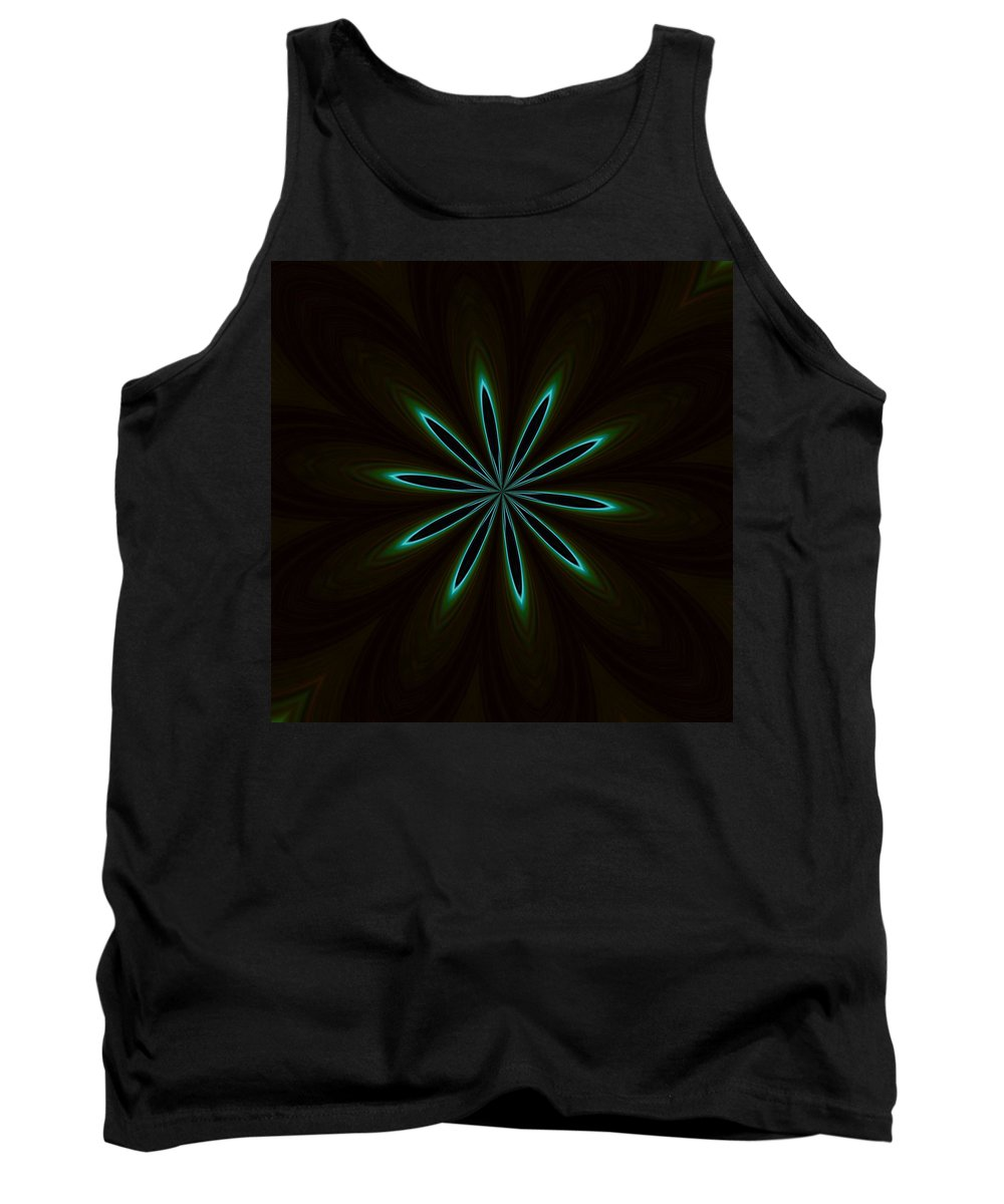Jade Tank Top featuring the photograph Contemporary Teal Floral On Black by Taiche Acrylic Art
