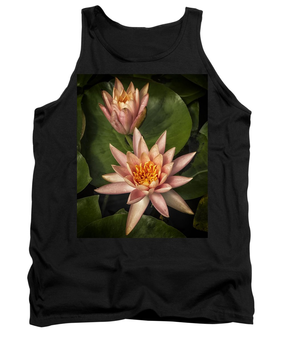Water Lily Tank Top featuring the photograph Coral Pink Water Lilies by Belinda Greb