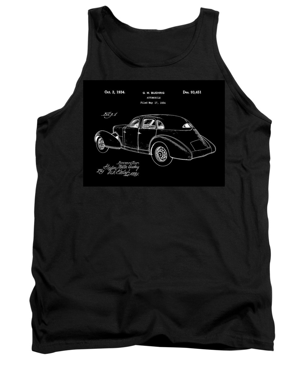 Cord Tank Top featuring the digital art Cord Automobile Patent 1934 - Black by Stephen Younts