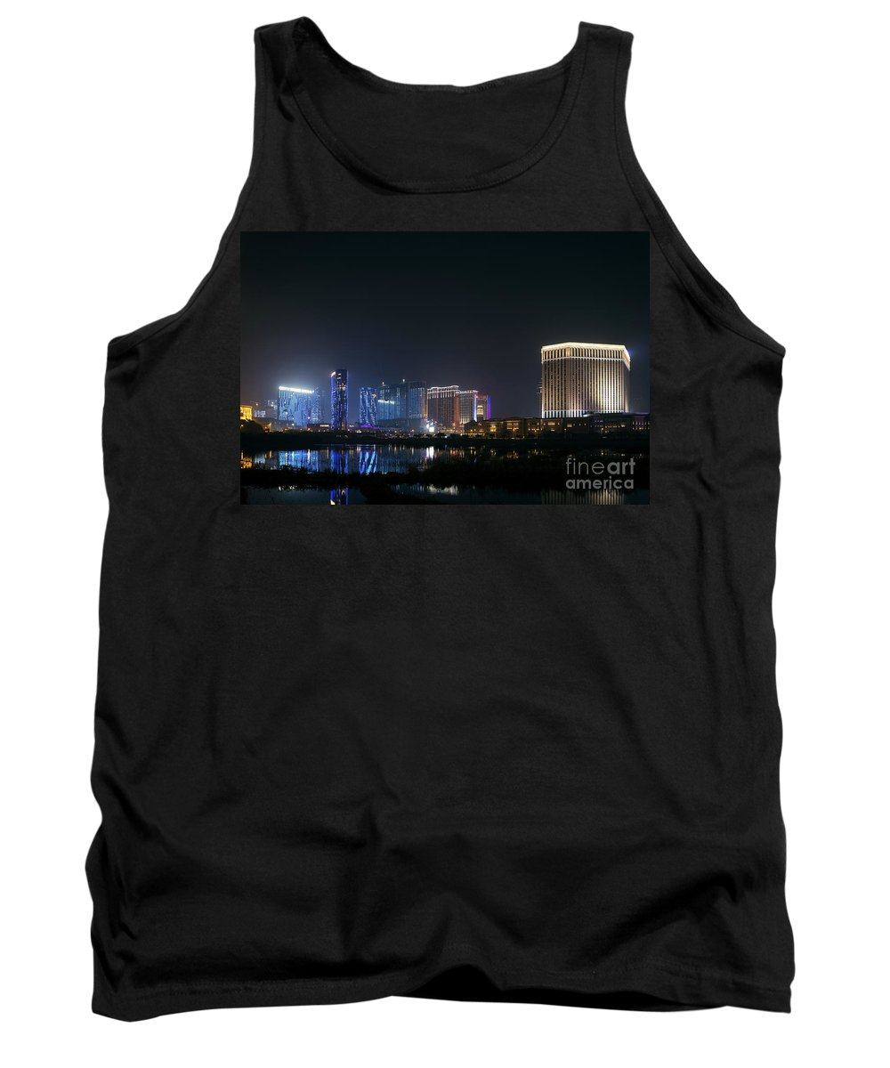 Architecture Tank Top featuring the photograph Cotai Strip Casino Resort Area Of Macau Macao China by Jacek Malipan