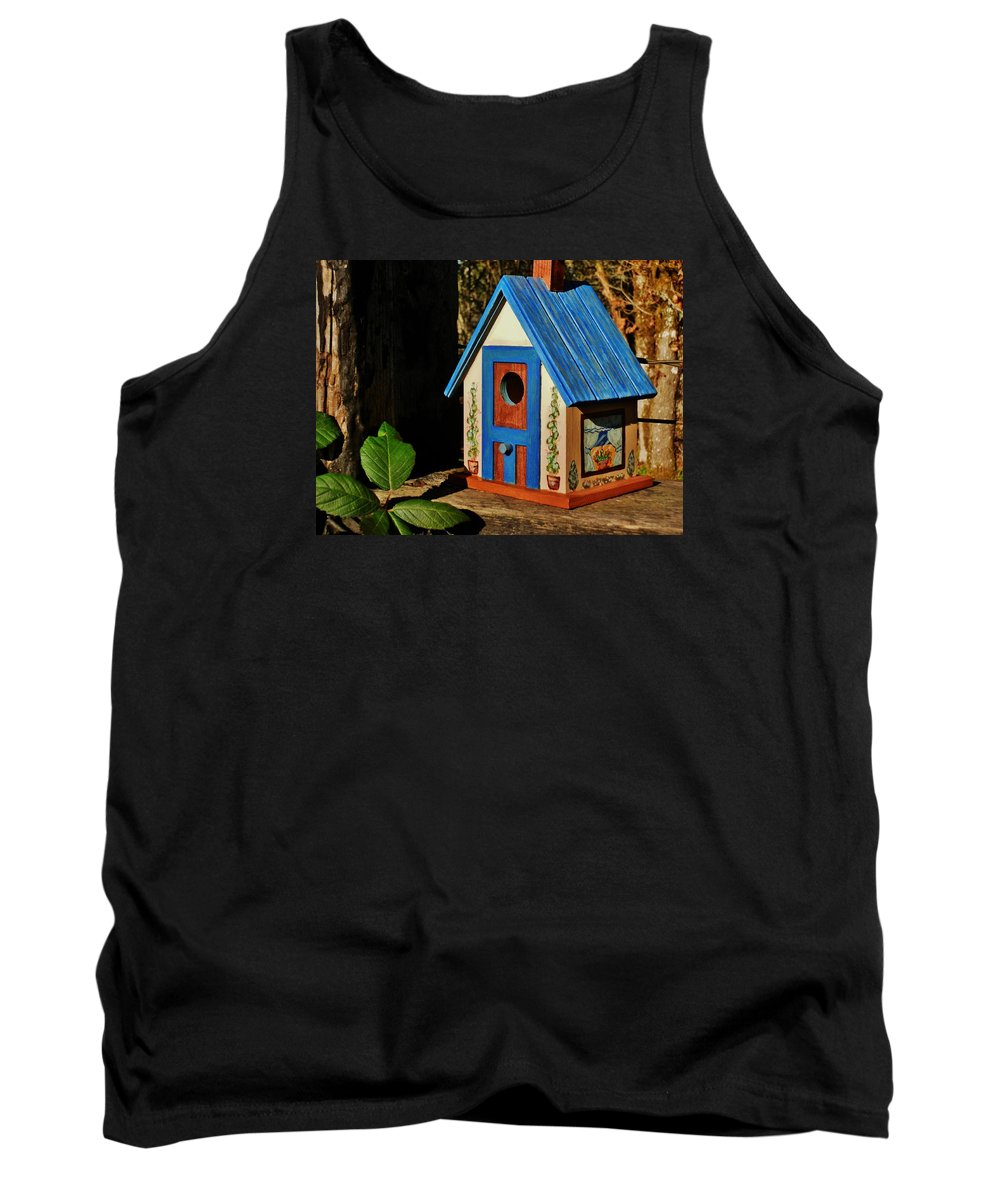 Birdhouse Tank Top featuring the painting Cottage Birdhouse by VLee Watson