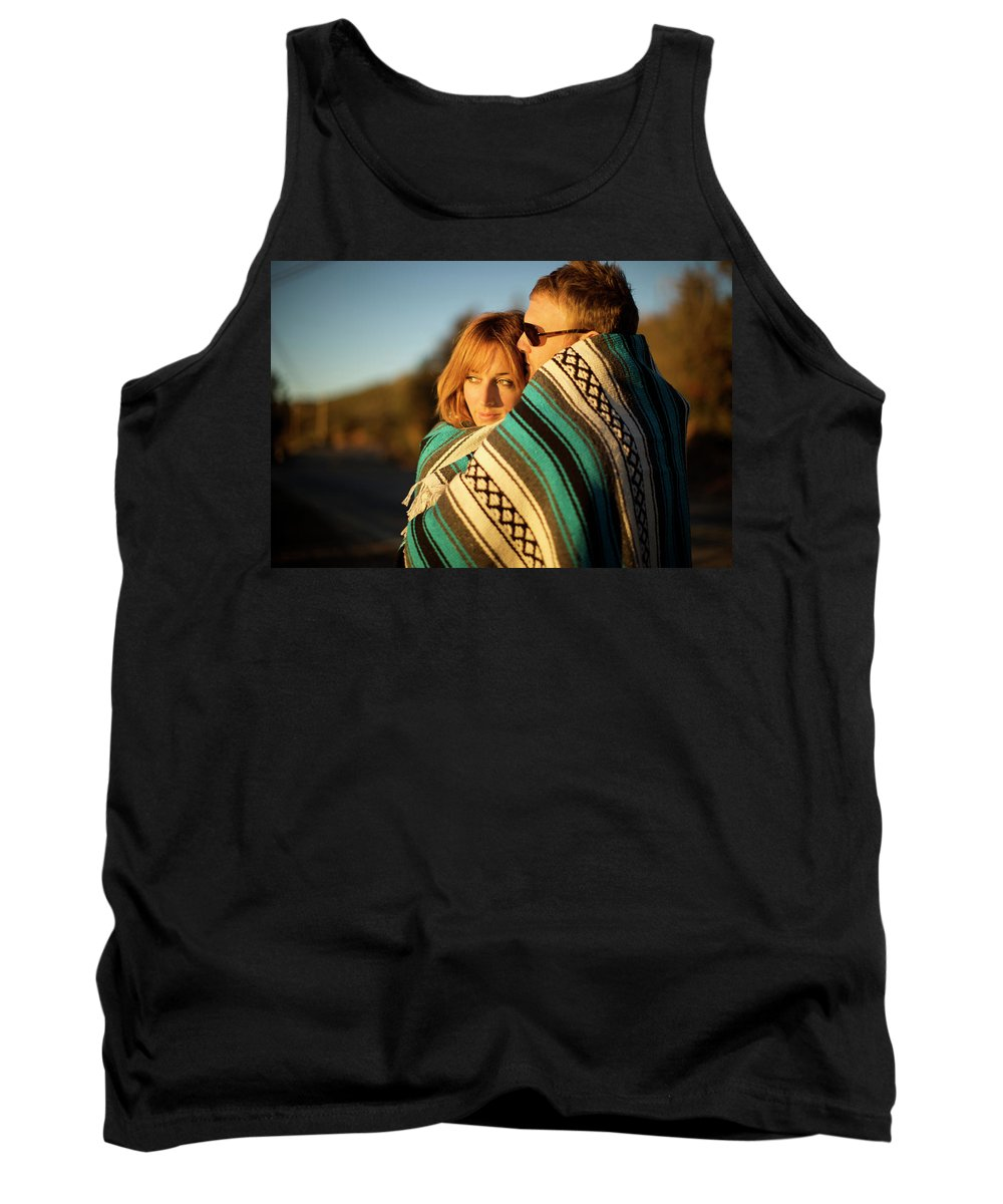 20s Tank Top featuring the photograph Couple Wraps Themselves In A Blue by Priscilla Gragg